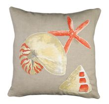 Embroided Shell and Star Cushion