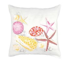 Embroided Pebble Coral Cushion