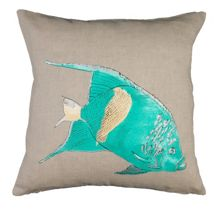 Embroided Natural Fish Cushion Cover