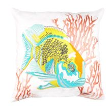 Marinette Saint-Tropez Embroided Lagoon Fish Cushion