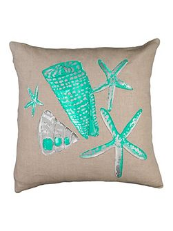 Embroided Stars and Shell Cushion