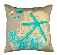 Marinette Saint-Tropez Embroided Aqua Stars Cushion