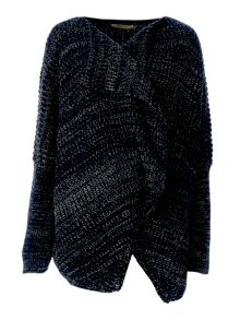 Knitted and textured wide cardigan
