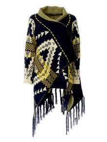 Colorful and symetrical printed Poncho
