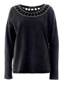Sweatshirt with a studd embellished neck
