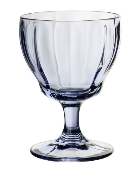 Farmhouse touch blue white wine goblet
