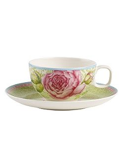 Rose cottage green tea cup & saucer 2piece
