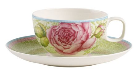 Villeroy & Boch Rose cottage green tea cup & saucer 2piece set
