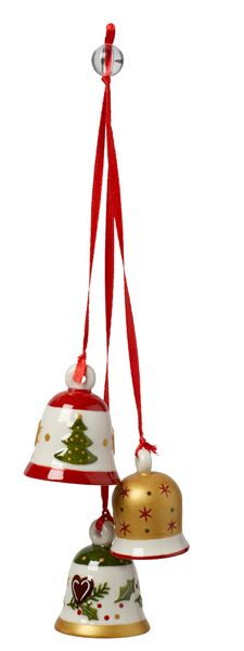 Villeroy & Boch Trio of christmas bell hanging ornament