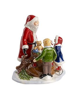 Santa with children ornament