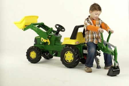 Rolly John Deere Tractor with loader & Rear Excavator