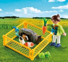 Playmobil Girl Figure with Guinea Pigs