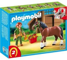 Playmobil 5108 Shire Horse with groomer & Trainer