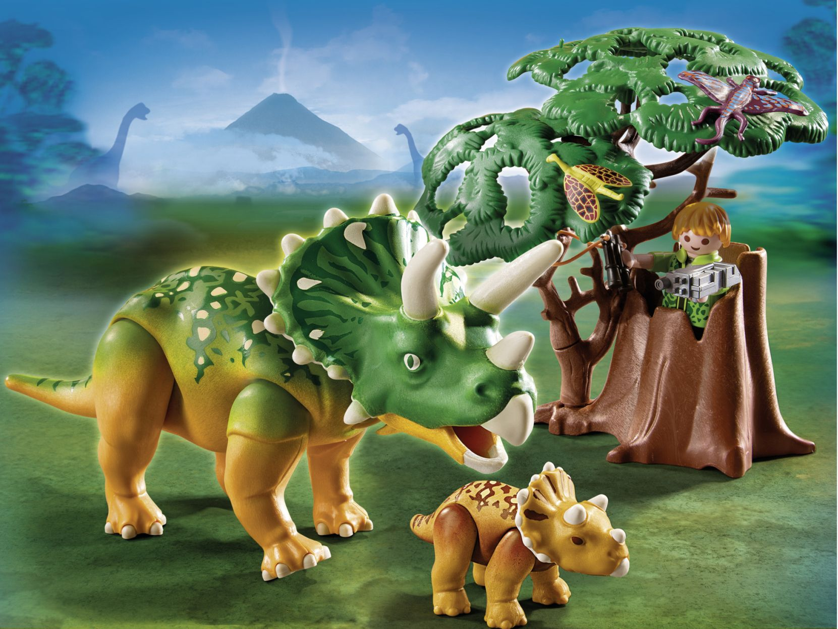 Explorer and Triceratops with Baby