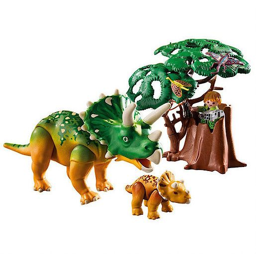 Playmobil Explorer and Triceratops with Baby
