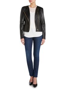 Salisa Soft Leather Panel Biker Jacket