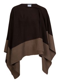 Knitted cape with plain contrast border