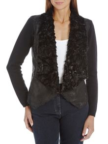 Knitted cardigan with faux fur