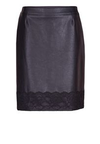 Straight pleather skirt with lace hem