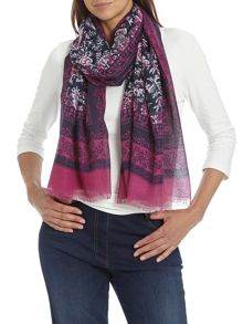 Long floral print scarf with fringed hem