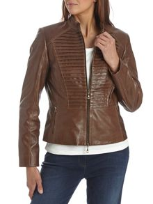 Leather military style jacket