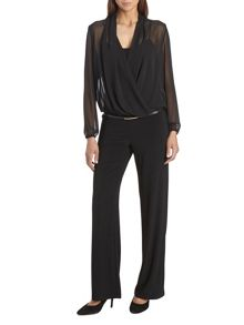 Jersey and chiffon belted jumpsuit