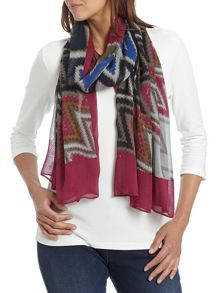 Multi coloured zig zag print scarf