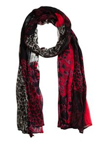 Long floral and animal print scarf