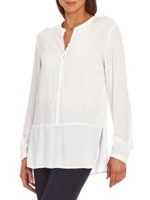 Collarless blouse with slits