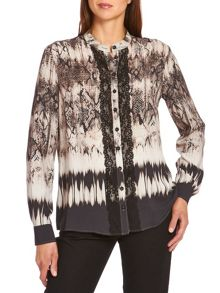 Snake print blouse with lace trim