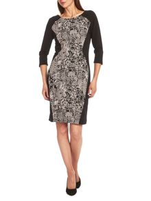 Jersey dress with snake print panels