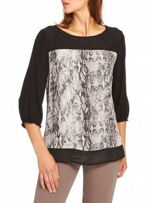 Snake print top with lace trim