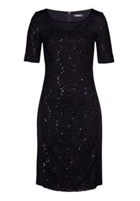 Panelled dress with lace and sequins