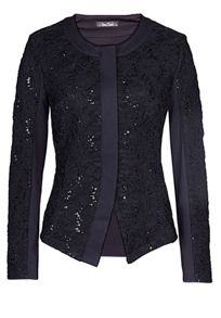 Lace and sequin jacket with plain back