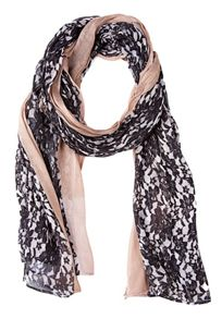 Print scarf with plain edging