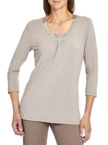 Long T-shirt with embellished neck