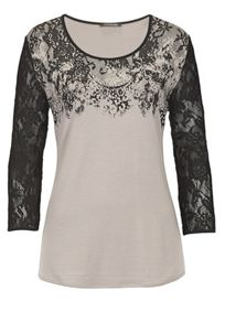 Print T-shirt with lace sleeves