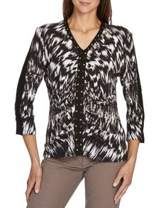 Graphic print top with ruching