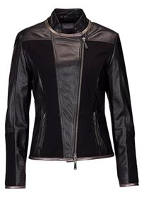 Leather biker jacket with jersey panels