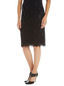 Lace and sequin skirt with pointed hem