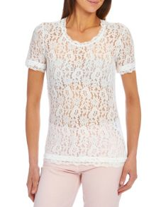 Short sleeve scoop neck lace top