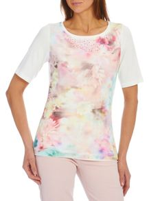 T-shirt with floral print mesh overlay
