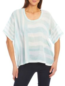 Round neck mixed stripe loose fit top