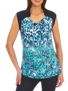 Sleeveless top with animal print front