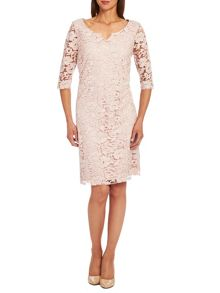 Scoop neck sleeved embroidered dress