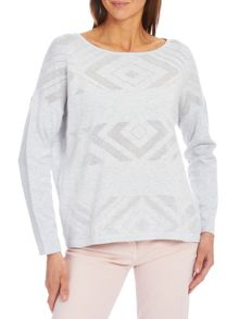 Fine knit jumper with dropped shoulders