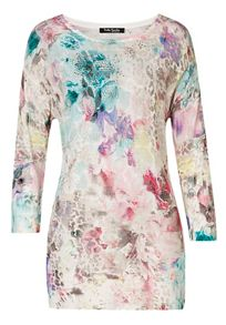 Long floral printed mesh tunic top