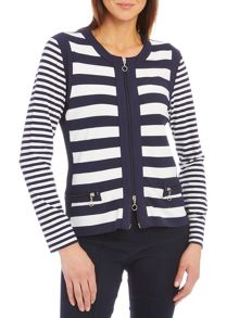 Striped cardigan with two-way zip