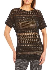 Short sleeve lace effect top