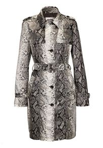 Snake print trenchcoat with belt